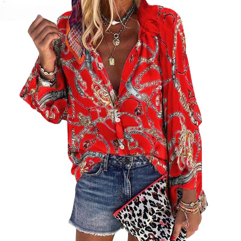 2021 новый дизайн размера плюс женская блуза с v-образным вырезом и длинным рукавом, с принтом цепей Свободные повседневные джинсовые рубашки ...