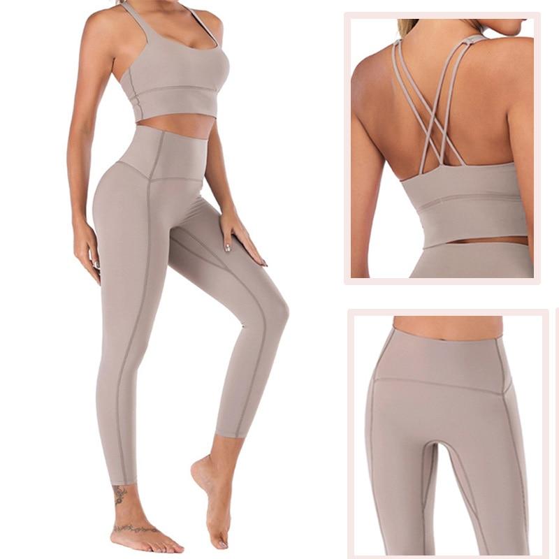 Naked-Feel Yoga Set Yoga Leggings Set Women Fitness Suit For Yoga Clothes High Waist Gym Workout Sportswear Gym Sports Clothing