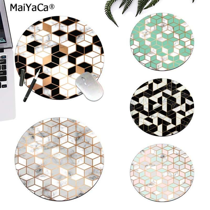 Maiyaca textura de mármol diseño sin fisuras con cubos dorados alfombrilla redonda para juegos de ordenador alfombrilla para escritorio de ordenador para juegos