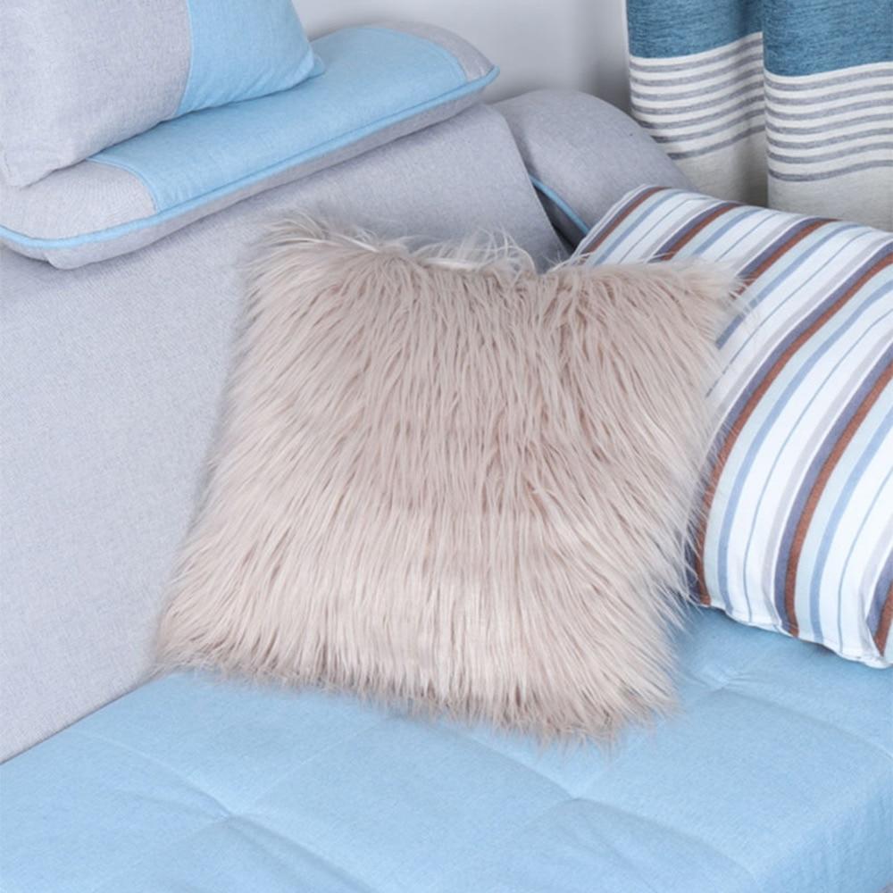 Funda de almohada de 18X18 pulgadas, funda de almohadas, funda de almohada de piel sintética de Mongolia de felpa supersuave, funda de cojín para sofá coche, decoración del hogar