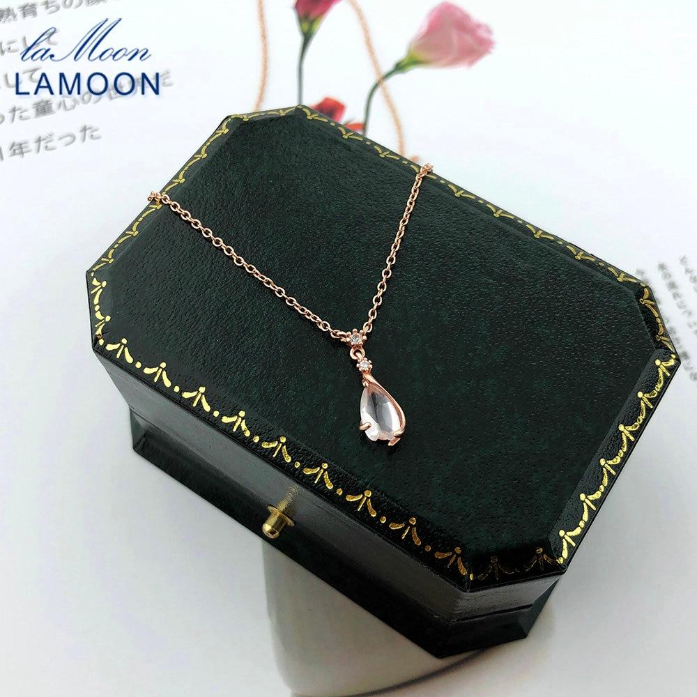Collar con colgante de plata de ley 925 de LAMOON, colgante de Sakura, pétalo de flores de cerezo, rosa de cuarzo, chapado en oro rosa de 18K, joyería fina LMNI096