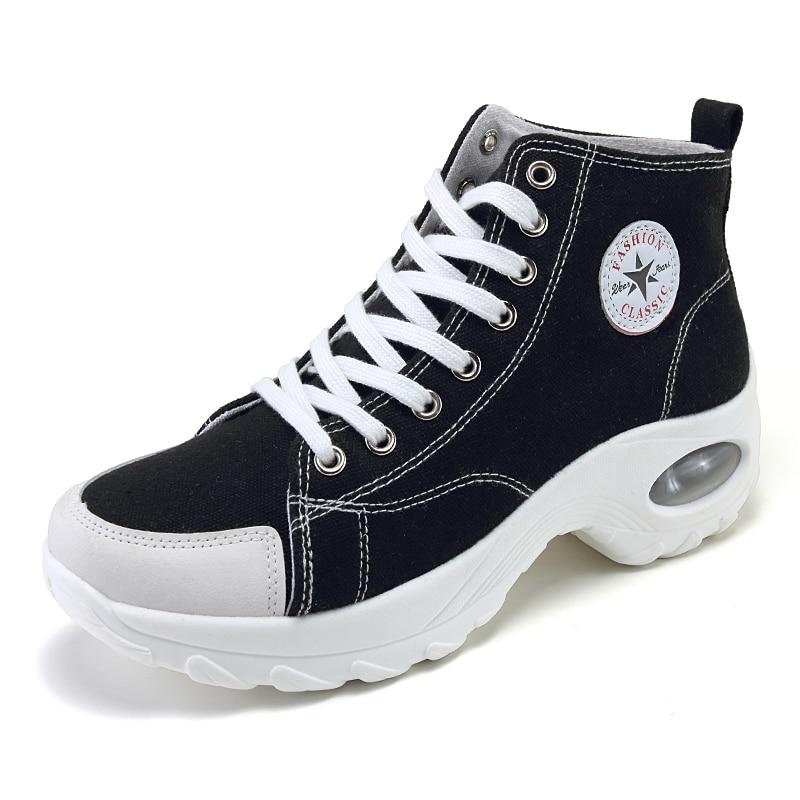 Woman Casual Shoes Air Cushion High-top Canvas Fashion Platform Women Chunky Sneakers Light Vulcanized