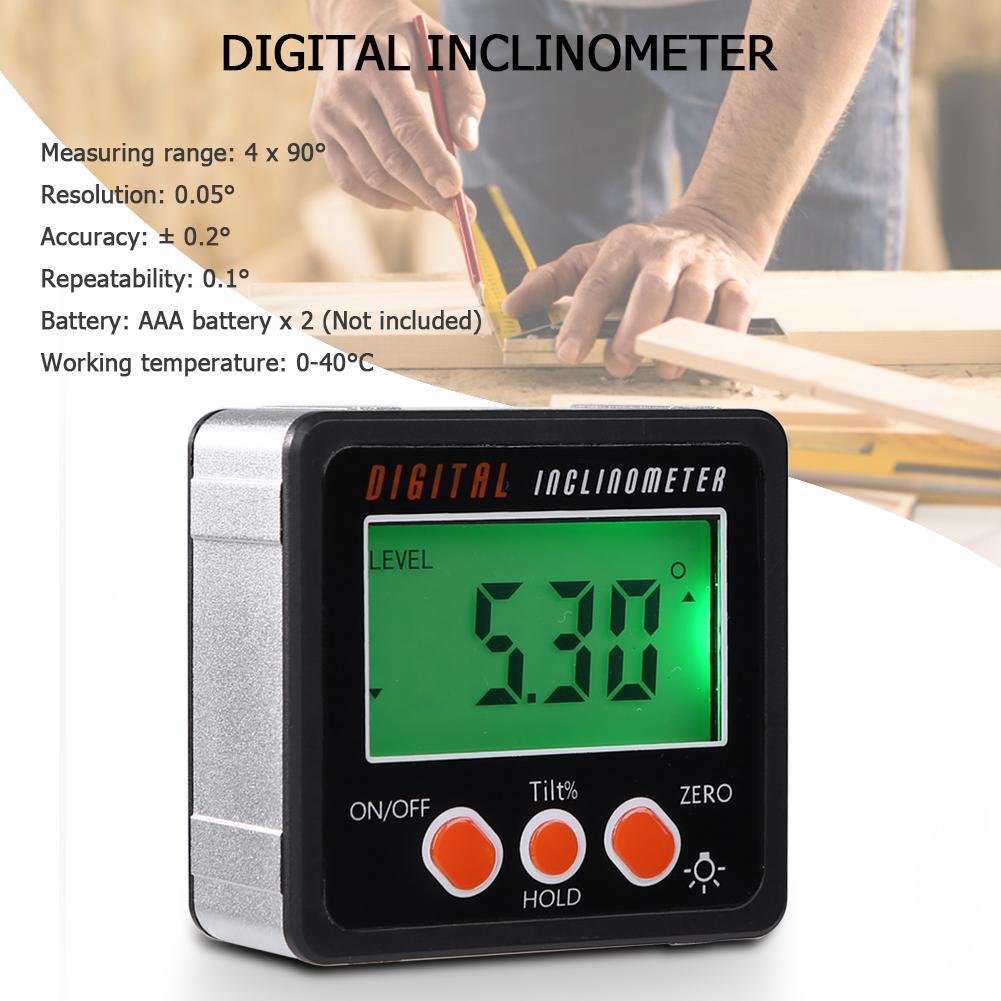 Inclinómetro Digital de precisión, caja de nivel, detector de ángulo impermeable, caja de bisel de medición con imán, regla de calibre de 90 grados