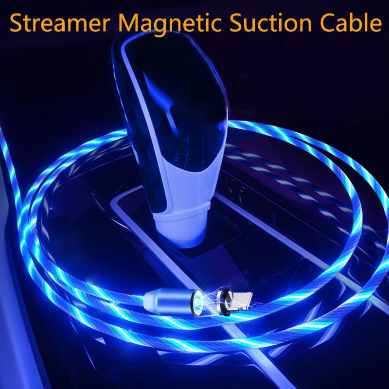 Carga de coche Cable LED luminoso Cable USB magnético para Hyundai solaris acento i30 ix35 i20 elantra santa fe tucson getz
