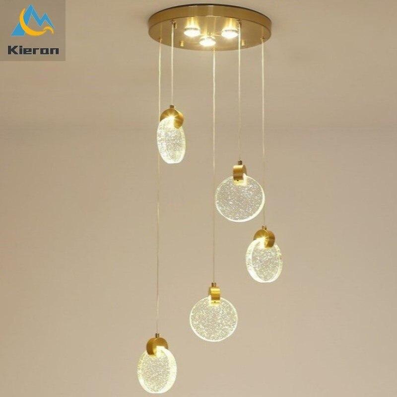 ثريا LED معلقة من الكريستال ، حديثة وبسيطة ، مع 5 رؤوس ، للمطعم ، البار ، غرفة النوم ، السرير ، غرفة الديكور ، الدراسة