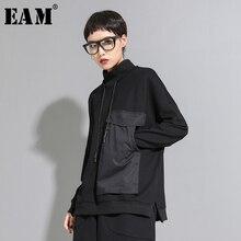 [EAM] camiseta grande con bolsillos y contraste de colores de talla grande para mujer, nueva camiseta de manga larga con cuello alto, tendencia de moda para primavera y otoño 2020 1D095