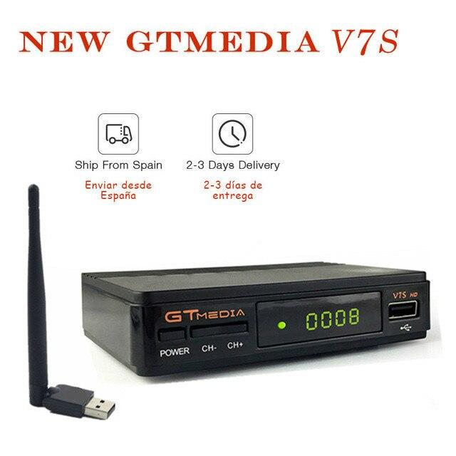 Medios GT V7S HD receptor de TV por satélite Full 1080P receptor de DVB-S2 Clines para España Europa potencia vu VS decodificador SAT V7 gratis