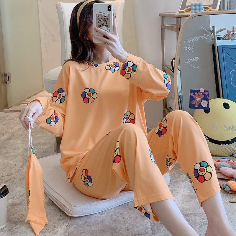 Cloth Bag Pajamas Female Spring and Autumn Korean-style Color Flower Long-Sleeved Clothing Set Loose