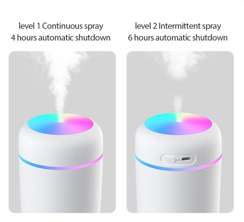 Air Humidifier 300ml Ultrasonic Aroma Essential Oil Diffuser Mini USB Cool Mist Maker Aromatherapy with Colorful Light C