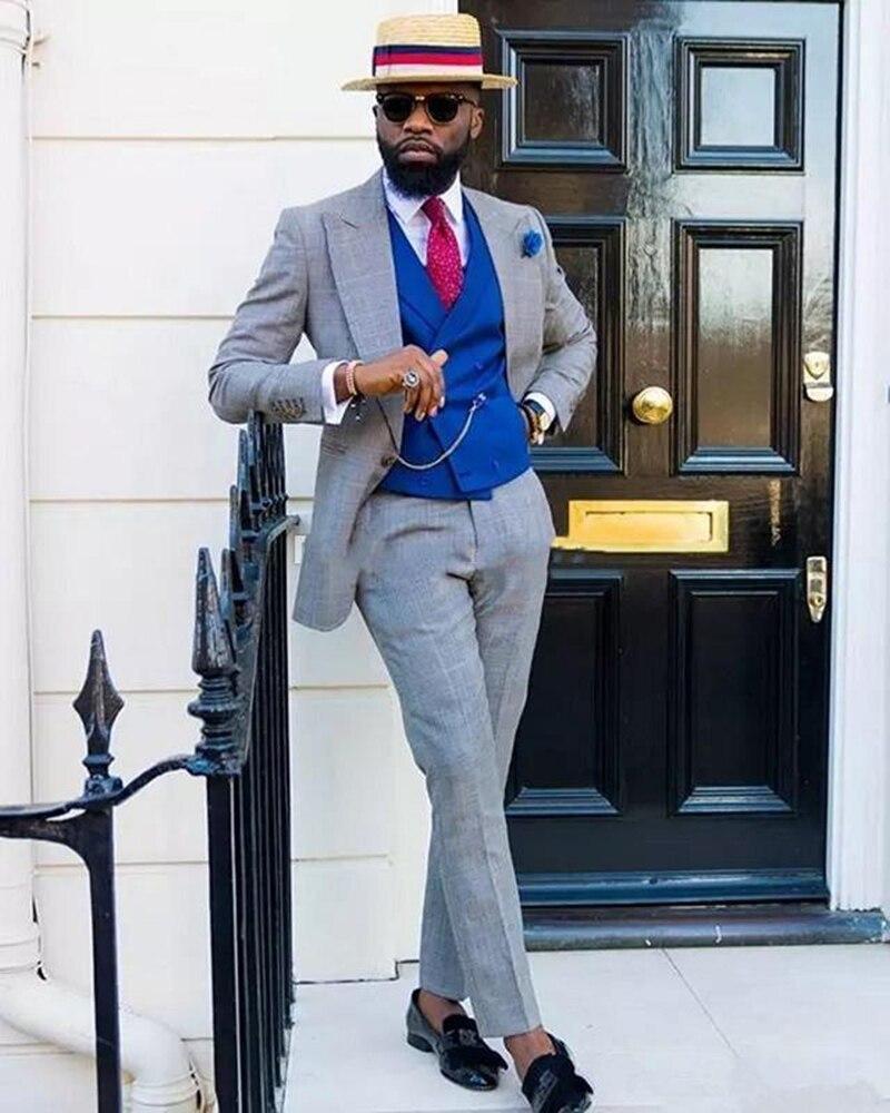 Мужской облегающий костюм с лацканами и двубортный жилет, мужской свадебный пиджак + брюки + жилет, облегающий смокинг для жениха