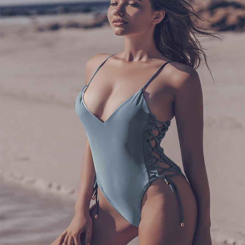 Spagatti Lace Up Side One Piece Swimsuit Women 2020 Summer Swimwear Push Up Monokini May Badpak One-piece Suit Bodysuit