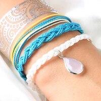 4pcsset multi layer rope bracelet sky blue rope chain lover crystal pendant bracelet for women lover free jewelry gift