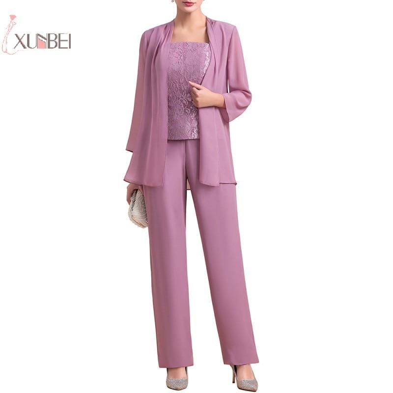 Mother Of The Bride Dresses Jacket Pant Suit Long Sleeve Wedding Party Guest Gown Lace Chiffon robe mere de la mariee 2020