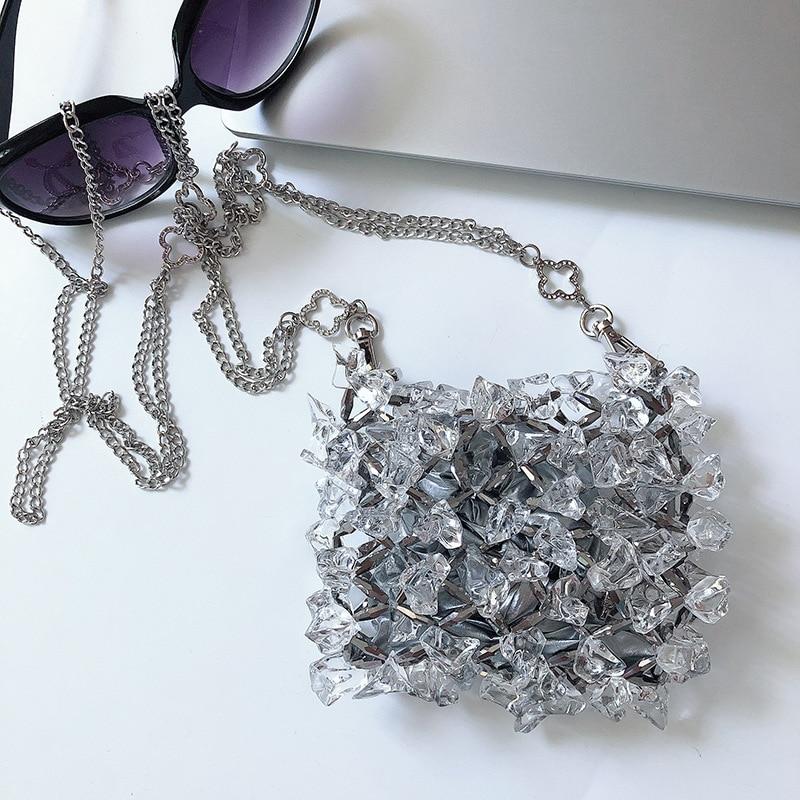 Luxury Design 2021 Women's Wedding Handbag Mini Crystal Clutch Evening Bags Messenger Bags Transparent Acrylic Purse Clutch