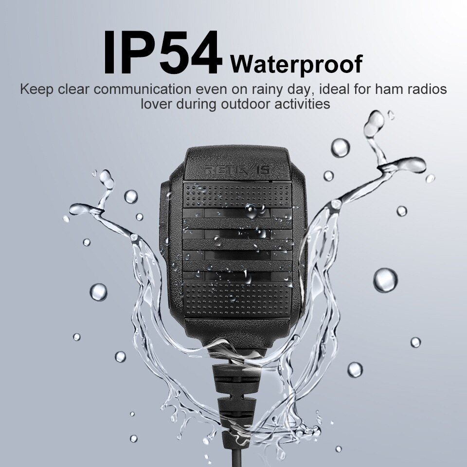 5pcs RS-114 IP54 Waterproof Speaker Microphone for Kenwood Baofeng UV5R UV82 UV9R 888S RETEVIS H777 RT3S RT5R RT22 Walkie Talkie enlarge