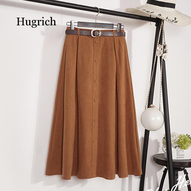 Autumn Winter Suede Velvet Women Female Midi Long Elegant Skirt Empire A-Line Pleated