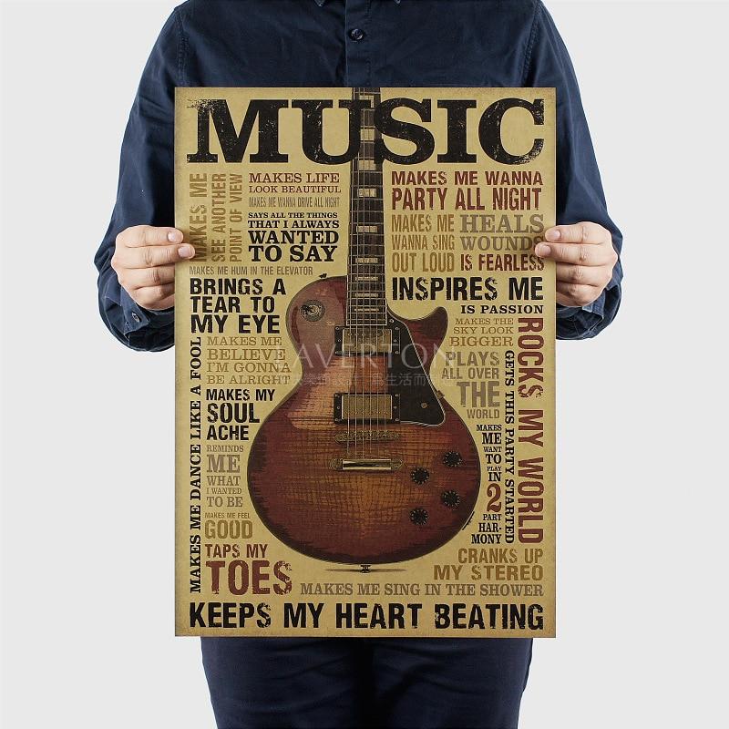 Music guitar classic nostalgic retro kraft paper poster decorative painting core 51.5x36cm