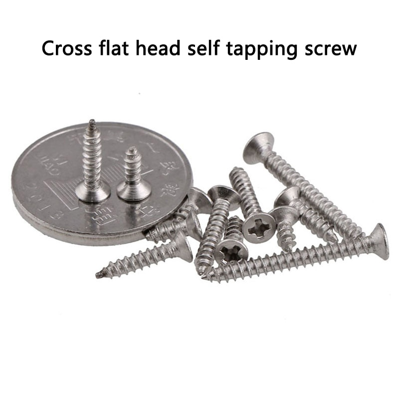 304 Stainless Steel Countersunk Self-tapping Screw/Cross Groove Flat Head Self-tapping Wood Screw M1-M2 GB846 50PCS