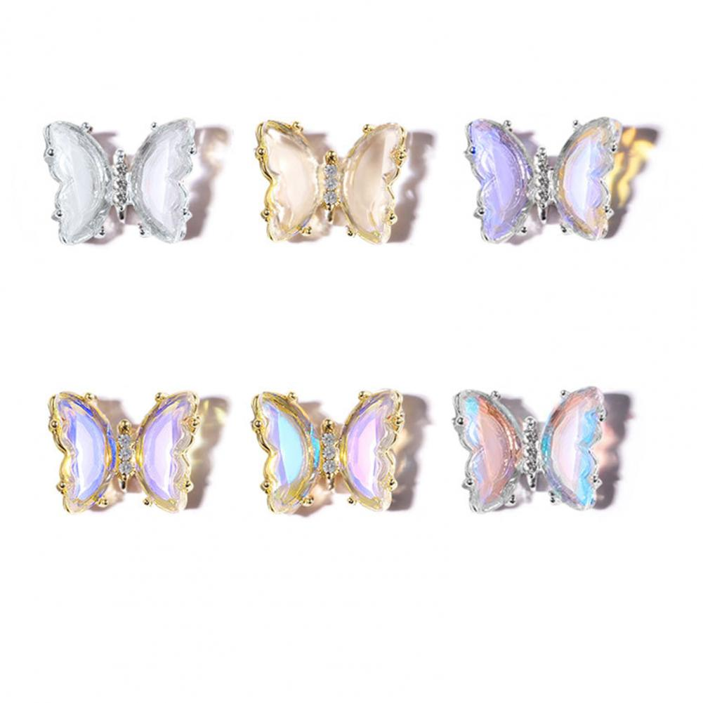 Butterfly Nail Ornament Aurora DIY Faux Crystal Nail Glitter Sequins 3D Colorful Manicure Decorations DIY Accessories for Female