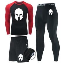 Men's Long Sleeve T-shirt+leggings Set rashgard Men Thermal Long johns Compression Jogging skin care