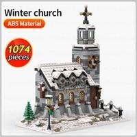 city street view building blocks christmas village winter church architecture house model bricks kids diy toys xmas gifts