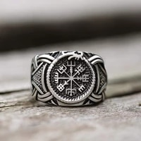 vintage viking 316l stainless steel compass odin rune vegvisir ring for men punk retro amulet jewelry ring male bijoux