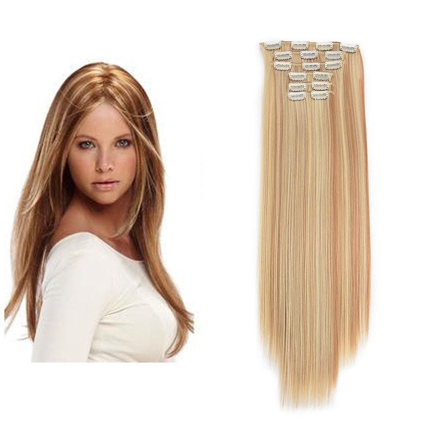 Beiyufei Hairpiece 6pcs/Lot 20 Inches Synthetic Hair Weft With Clip In Straight /Wave Hair Extension High Temperature Fiber clip in soft wave hair extension 1pc