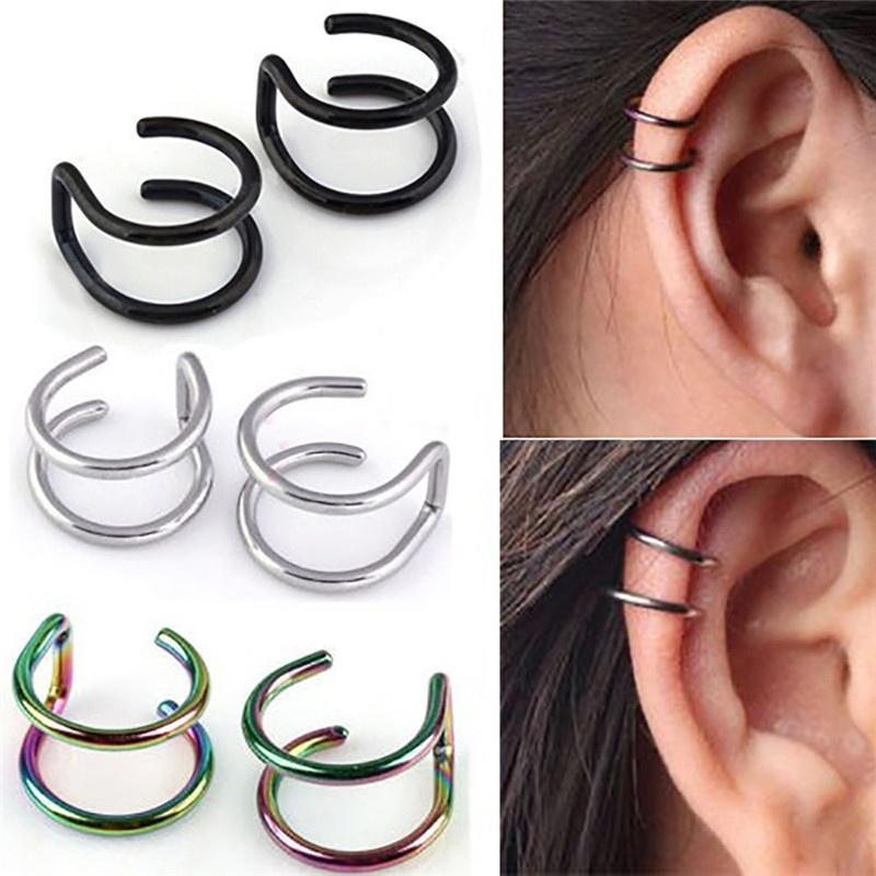 Ear Cuff Gold Black Non-Piercing Ear Clips Fake Cartilage Earring Fashion Jewelry For Women Men