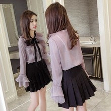 Very Fairy Blouse 2021 Spring Women's Clothes Loose Ruffled Pleated Bell Sleeve Chiffon Shirt Women'