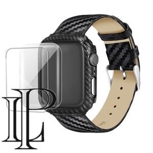 Carbon fiber Case+Strap For Apple watch band 44mm 40mm iWatch band 42mm/38mm watchband Bracelet Apple watch series 4 3 5 se 6