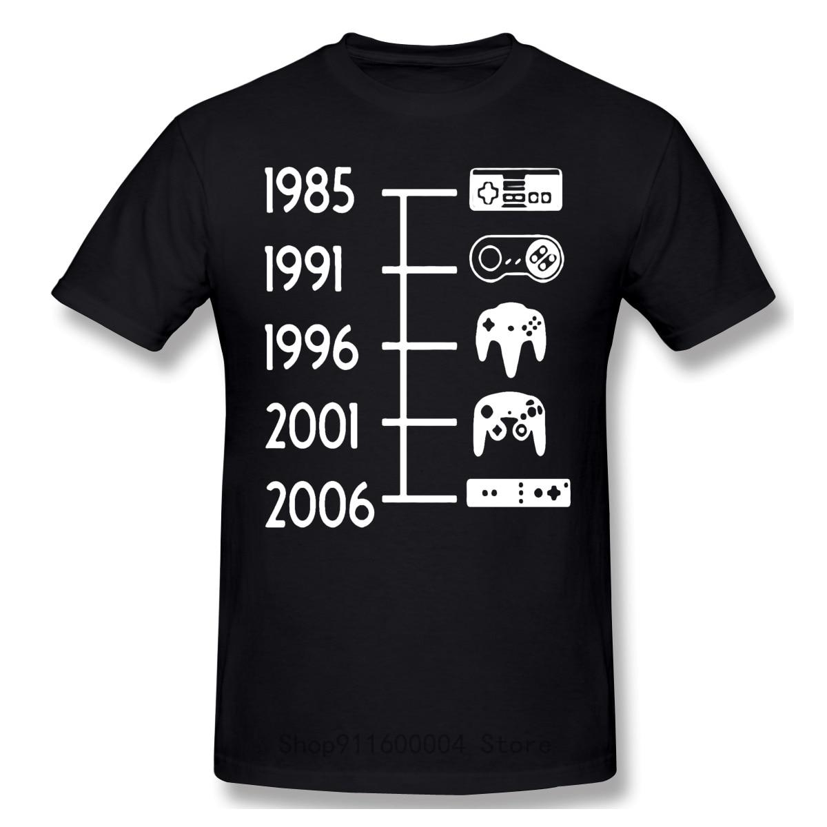Camiseta con control L Nea De Tiempo para hombre, camisa Divertida Retro...