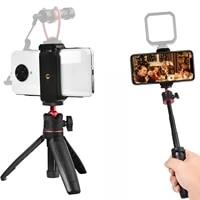 mt 08 phone mini tripod microphone camera video led light vlog fill light live cold shoe phone mount holder for dslr slr