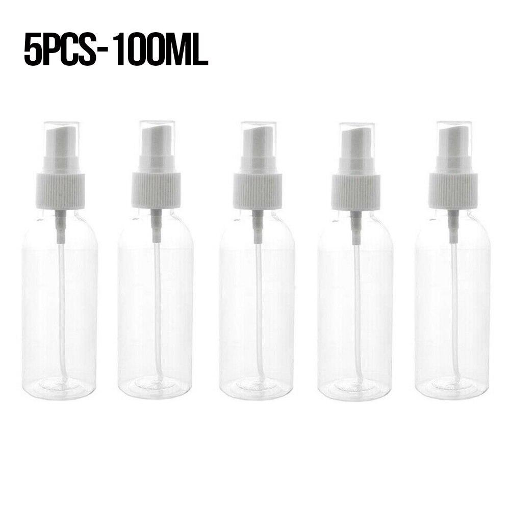 5 stücke 100ml Kleine Kunststoff Spray Flaschen Tragbare Transparent Leere Nachfüllbare Flaschen Antiseptische Mini Nebel Spray