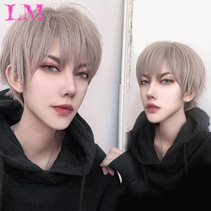 LM Short Striaght Full Synthetic Wig for Men Male Hair Fleeciness Realistic Wigs For Men Synthetic Hair Cosplay Wig Curly Boy