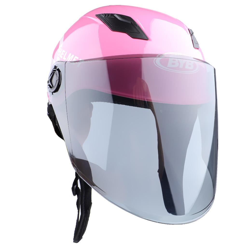 MagiDeal, casco de motocicleta, protector único, casco de motocicleta de carreras, lente rosa Tawny