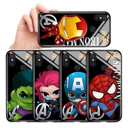 Para xiaomi mi mix2 mix2s mix3 max2 max3 dos desenhos animados marvel avenger ironman spiderman capa da caixa de vidro temperado brilhante embalagem
