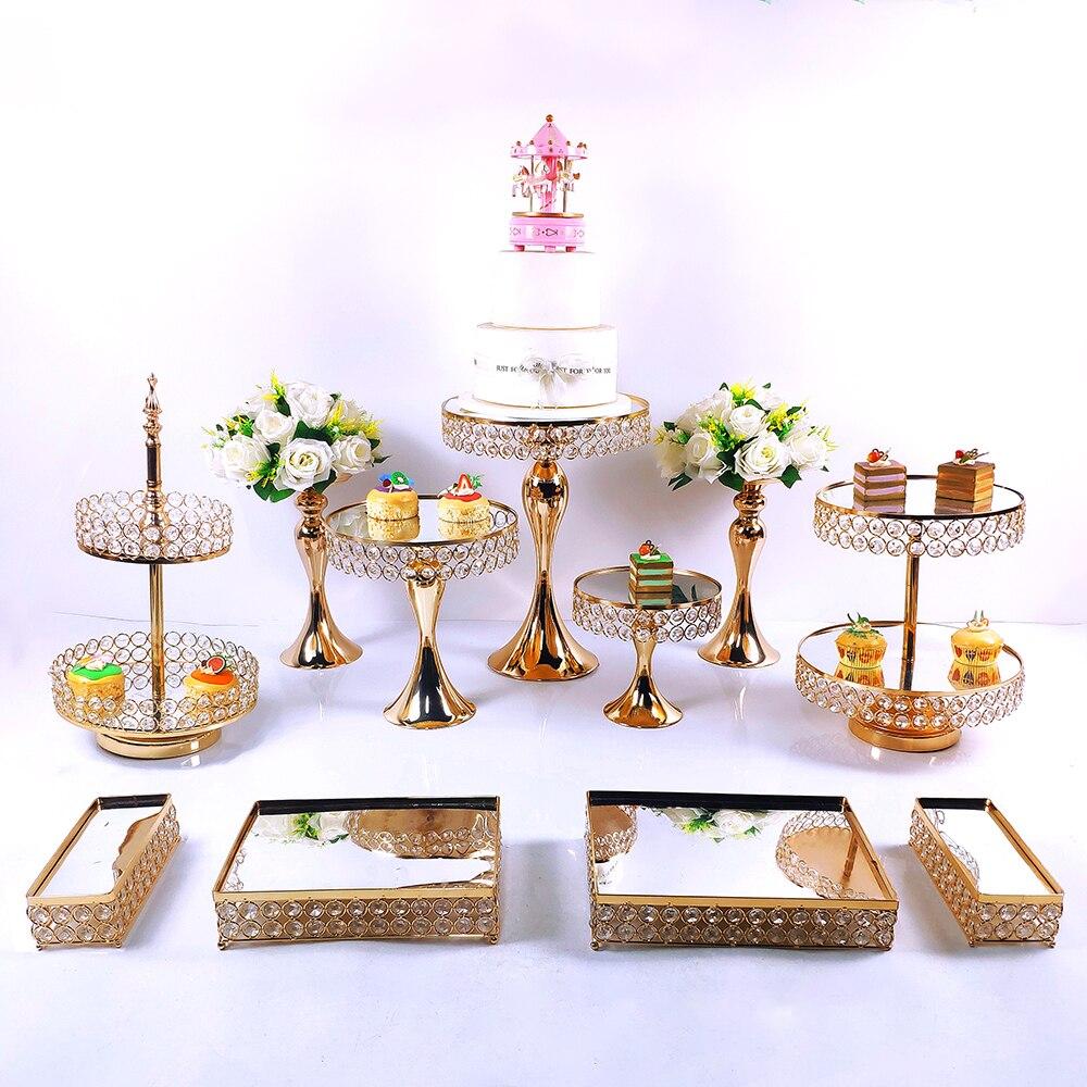 مصنع الجملة 8 قطعة مجموعة كريستال حامل كيك معدني كب كيك الزينة الحلوى الركيزة حفل زفاف صينية العرض