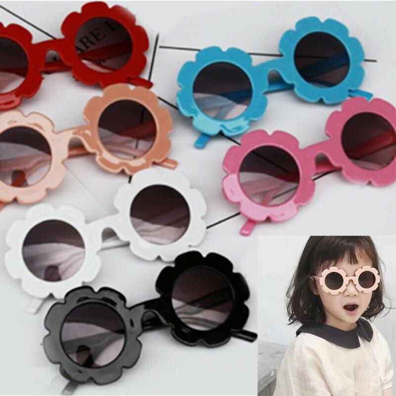 Kids Sunglasses Flower Boys Girls Round Glasses Children Baby Plastic Eyewear