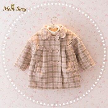 Шерстяная куртка для маленьких девочек клетчатое длинное двубортное теплое твидовое пальто с отворотом для малышей Верхняя одежда для малышей на весну, осень и зиму