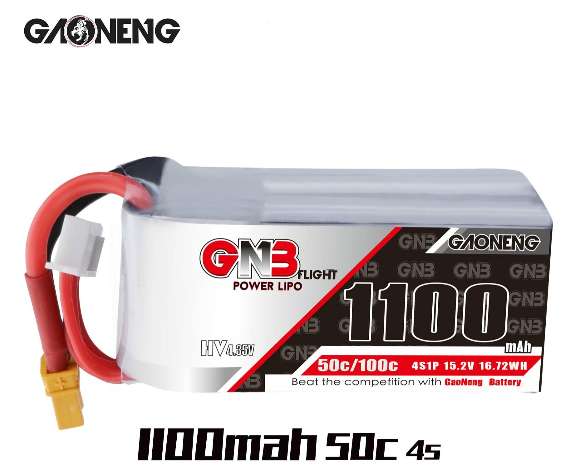 2 pces gaoneng gnb 1100 mah 4S/5S/6 s 50c 19 v hv lipo bateria xt30/xt60 para rc zangão fpv corrida freestyle iflight nazgul5 4S 6 s