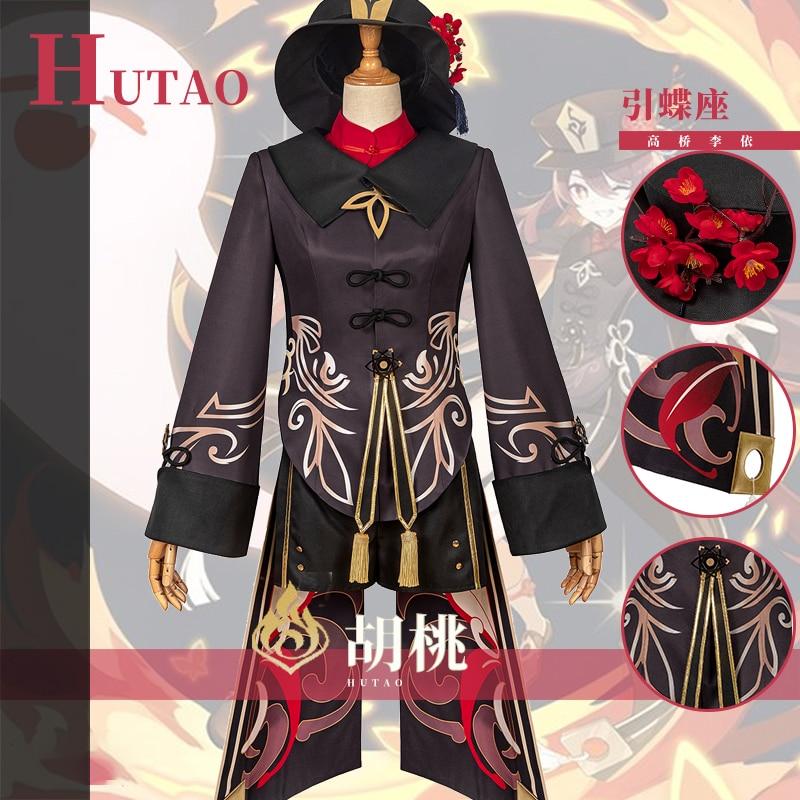 أنيمي Genshin تأثير Hutao تأثيري زي لعبة دعوى موحدة هو جين تاو هالوين ازياء للنساء XS-2XL 2021 جديد