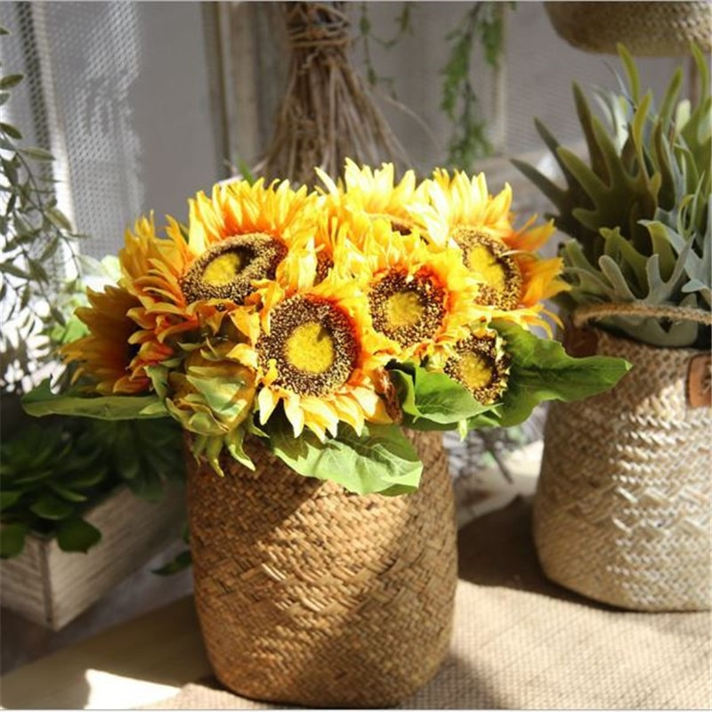 Sunflower Artificial Flowers 5/7 Heads Silk Fake Flowers For Home Wedding Decoration Autumn Party Garden Decor Artificial Flower