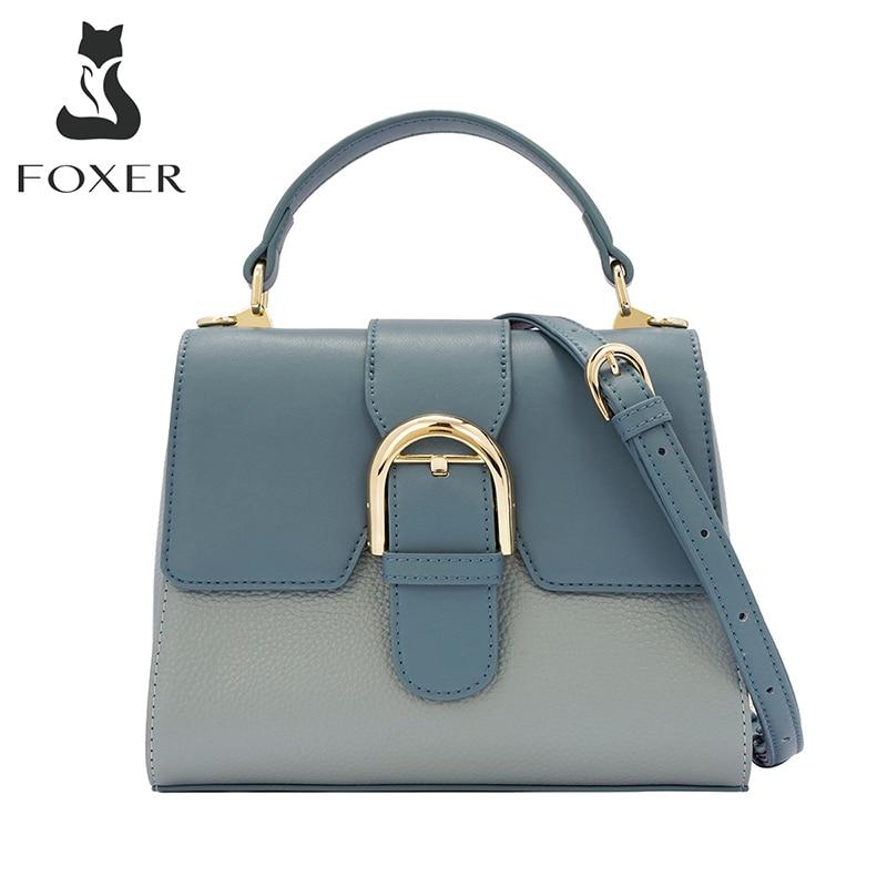 FOXER المرأة حقيقية جاكيت جلدي حقائب بيد لينة سيدة عادية حقائب كتف سعة كبيرة تخفيف موضة حقائب بيد الإناث
