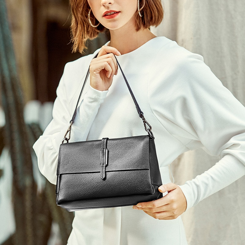 New Style Cowhide Handbags European and American Fashion Top Layer Cowhide Small Square Bag Women's Bag Single