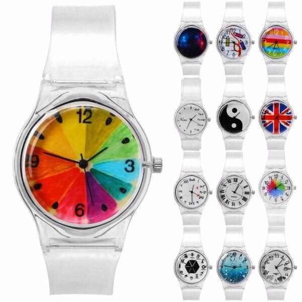 Reloj de pulsera para mujer, Simple, transparente, bonito, con diseño de silicona, número para mujer, reloj de pulsera deportivo de cuarzo con lentejuelas coloridas
