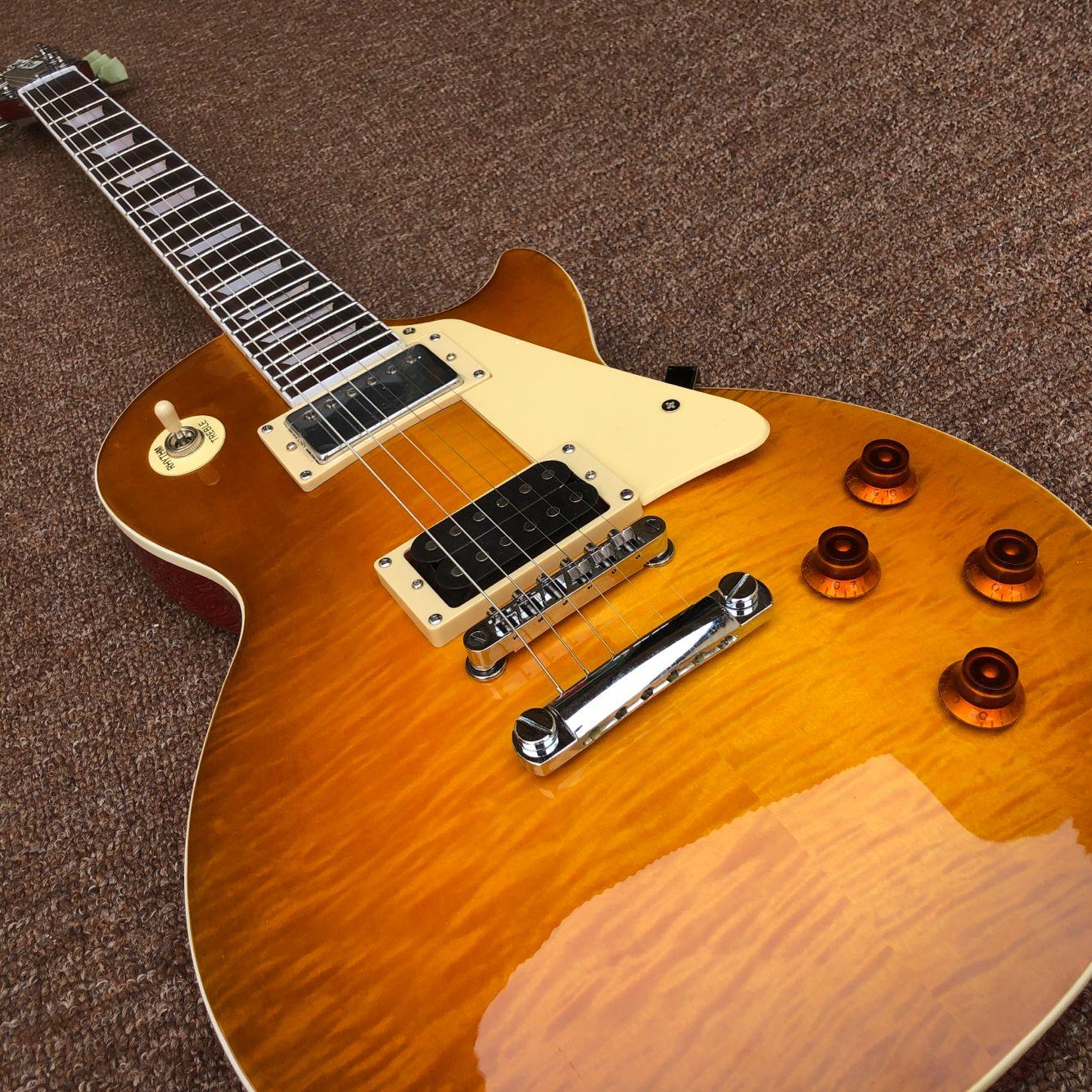 New standard Custom.Tiger Flame electric guitar.high quality pickups.rosewood fingerboard,mahogany body 6 Strings guitarra. enlarge
