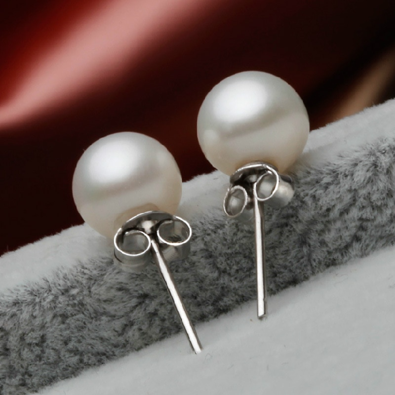 2021 Fashion Office 925 Sterling Silver 8mm Bread Ball Freshwater Cultured Pearl Jewelry Stud Earrings for Women Wedding Gift