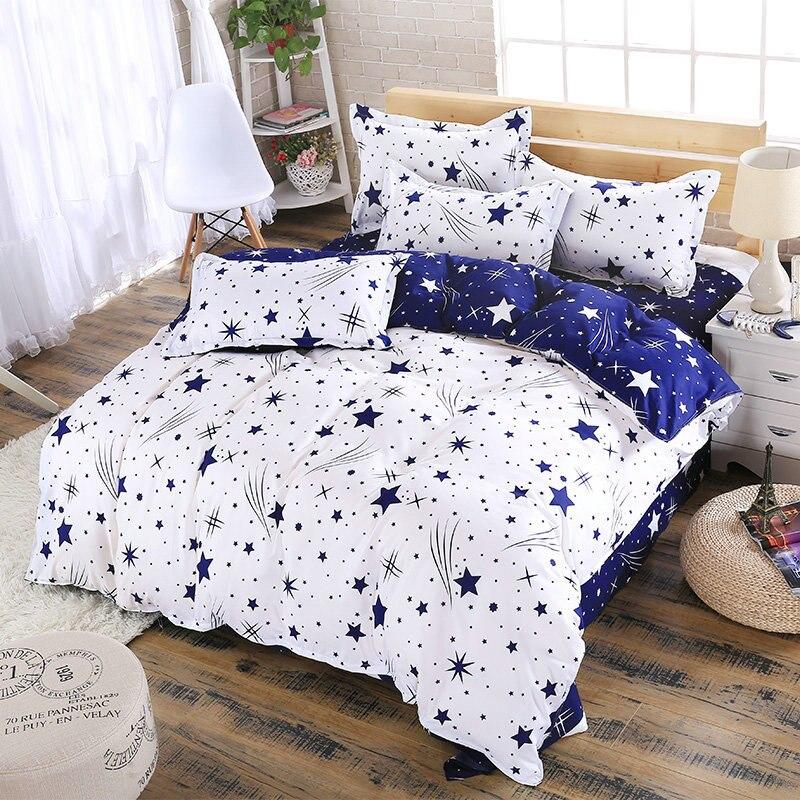 Juego de fundas de cama de 4 Uds. Con diseño de estrella en color azul y blanco, funda de edredón con dibujos para adultos y niños, sábanas y fundas de almohada, juego de cama 61001