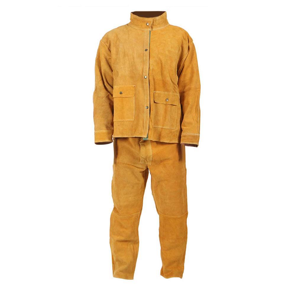 Welding Suit Splash-proof Heat-resistant Clothing for Male car workshop welding suit mechanical working overalls yellow