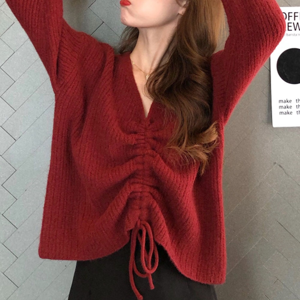 Autumn Women Sweaters And Pullovers New Knitted V-neck Pleated Long-sleeved Shirt Korean Style Fashi